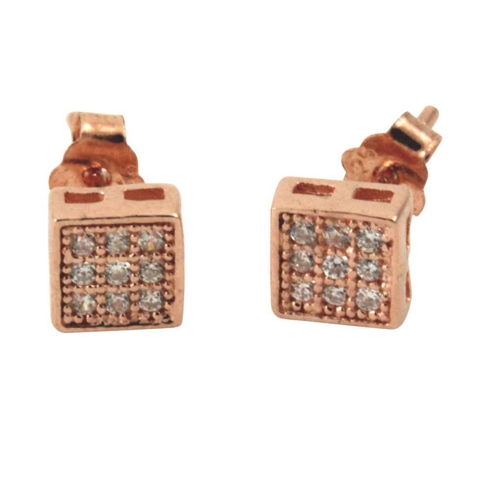 """Tiny"" Mini Square Pave CZ Cluster Stud Earrings"