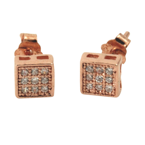 """Tiny"" Square Pave CZ Stud Earrings Mini"