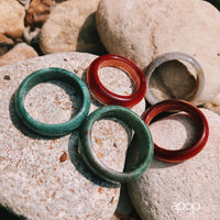 Green Jasper Style Stone Band Ring