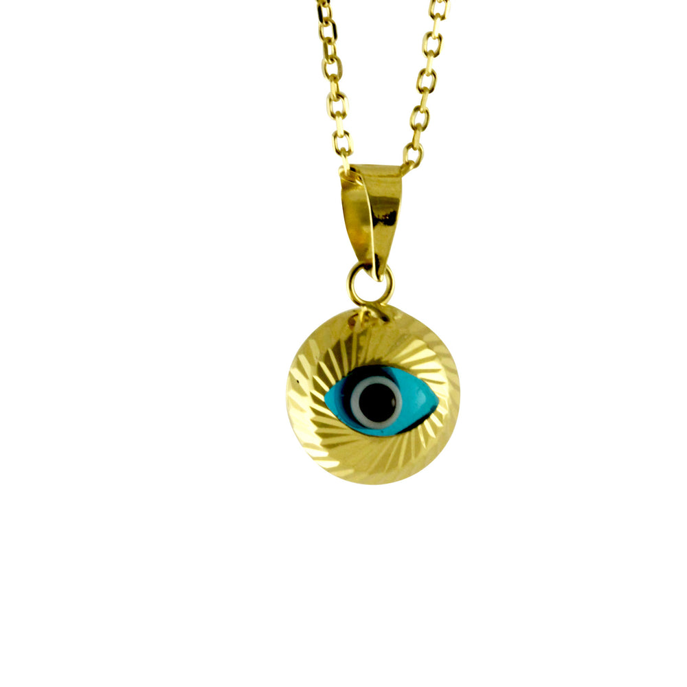 14k Gold Blue Eye Pendant Necklace