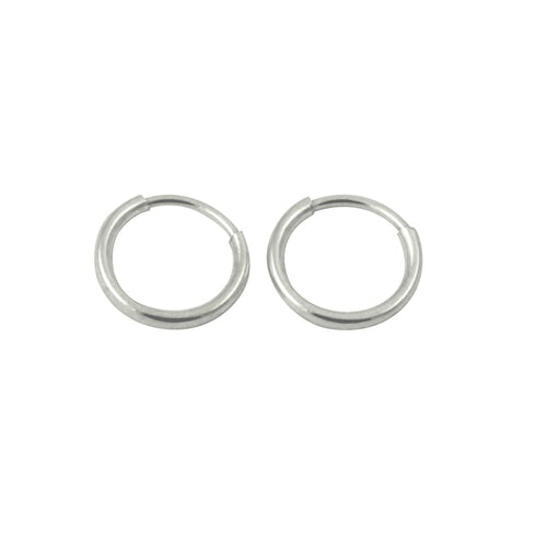 Sterling Silver Tiny Mini Plain Sleeper Hoop Huggie Earrings