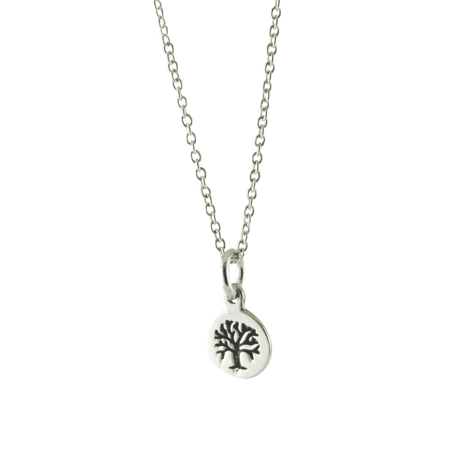 Sterling Tiny Tree Of Life Medallion Pendant Necklace