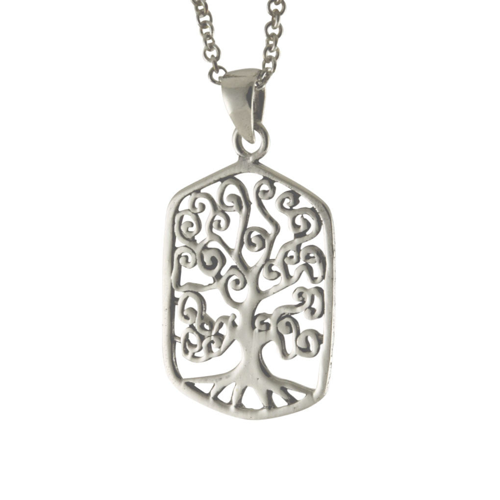Sterling Tree Of Life Square Pendant Necklace