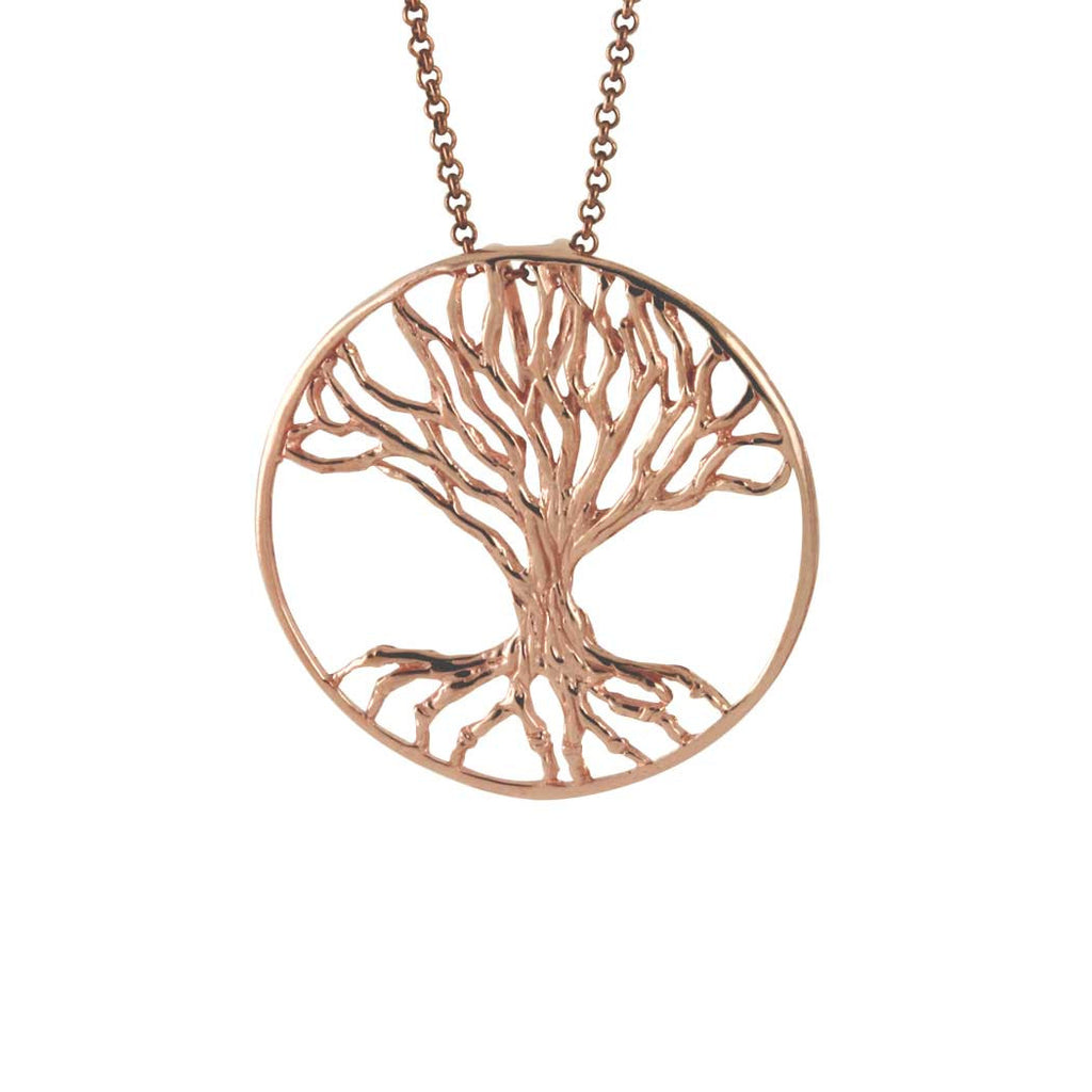 Rosy Tree Of Life Medallion Pendant Necklace