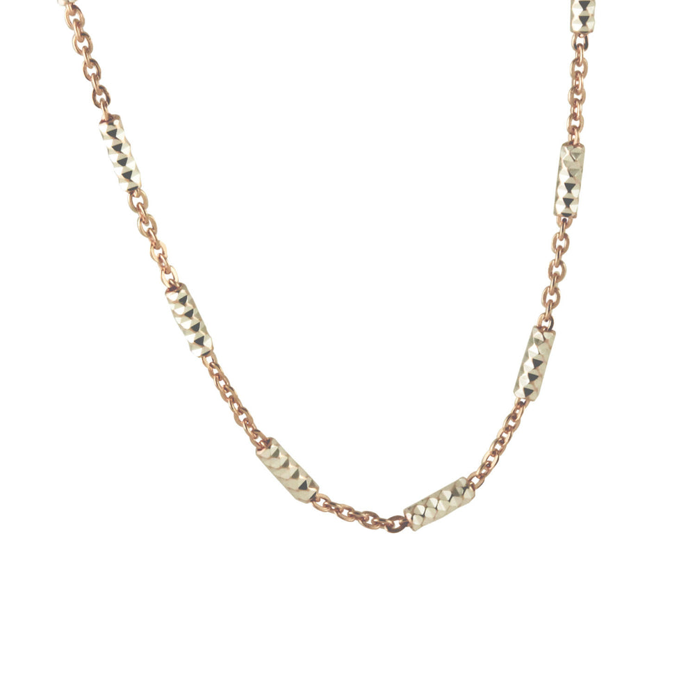 """Rosy & Silver"" Two-Tone Bar Bead Chain Necklace"