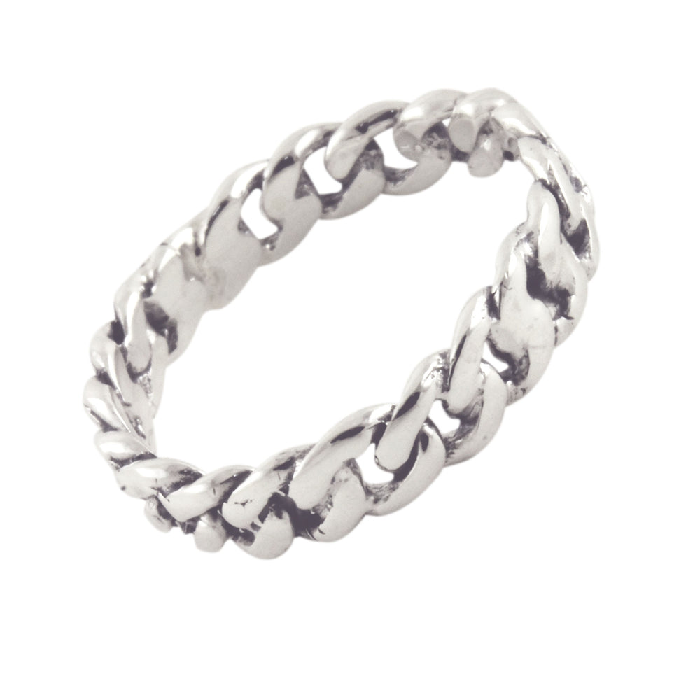 Sterling Silver Curb Chain Band Ring