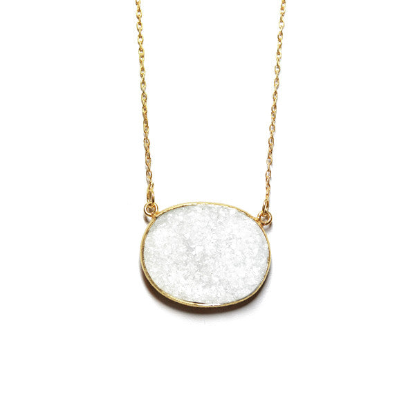 Gold-Dipped White Druzy Stone Necklace