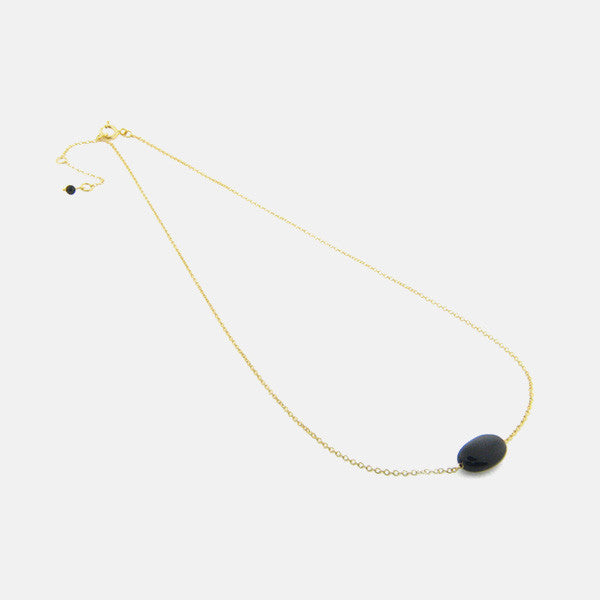 Gold-Dipped Natural Onyx Stone Necklace