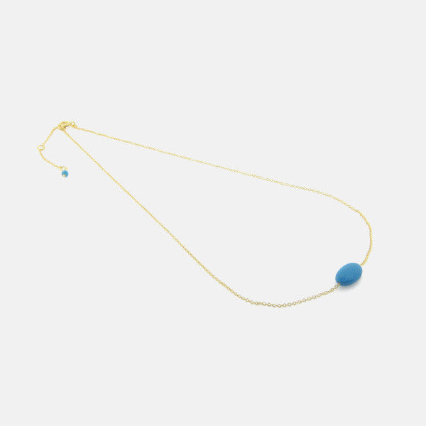 """Turquoise Treasure"" Gold-Dipped Stone Necklace 16-18 inch"