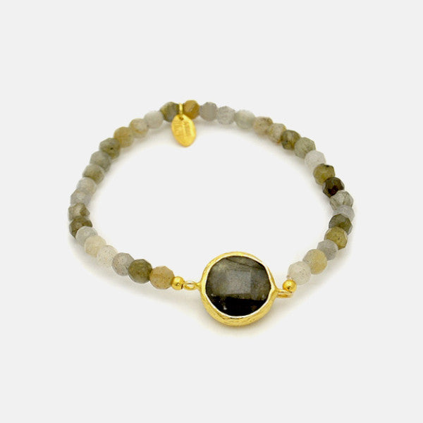 Gold-Dipped Labradorite Bracelet Stretch