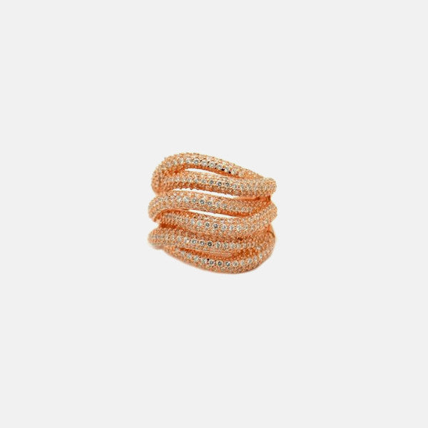 """Twinkle Twinkle Twist"" Rose Goldtone Layered Cocktail Ring with Stones"