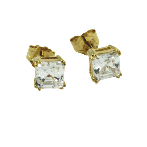 Asscher-Cut CZ Stud Earrings