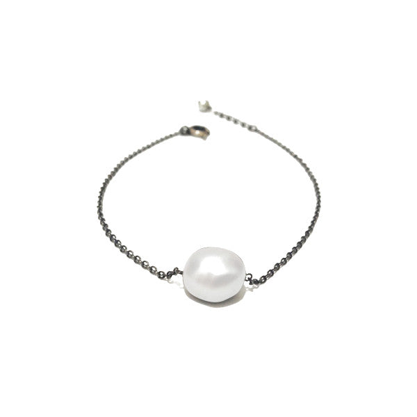 "Blackened Natural ""Baroque"" Pearl Solitaire Bracelet 7 inch"