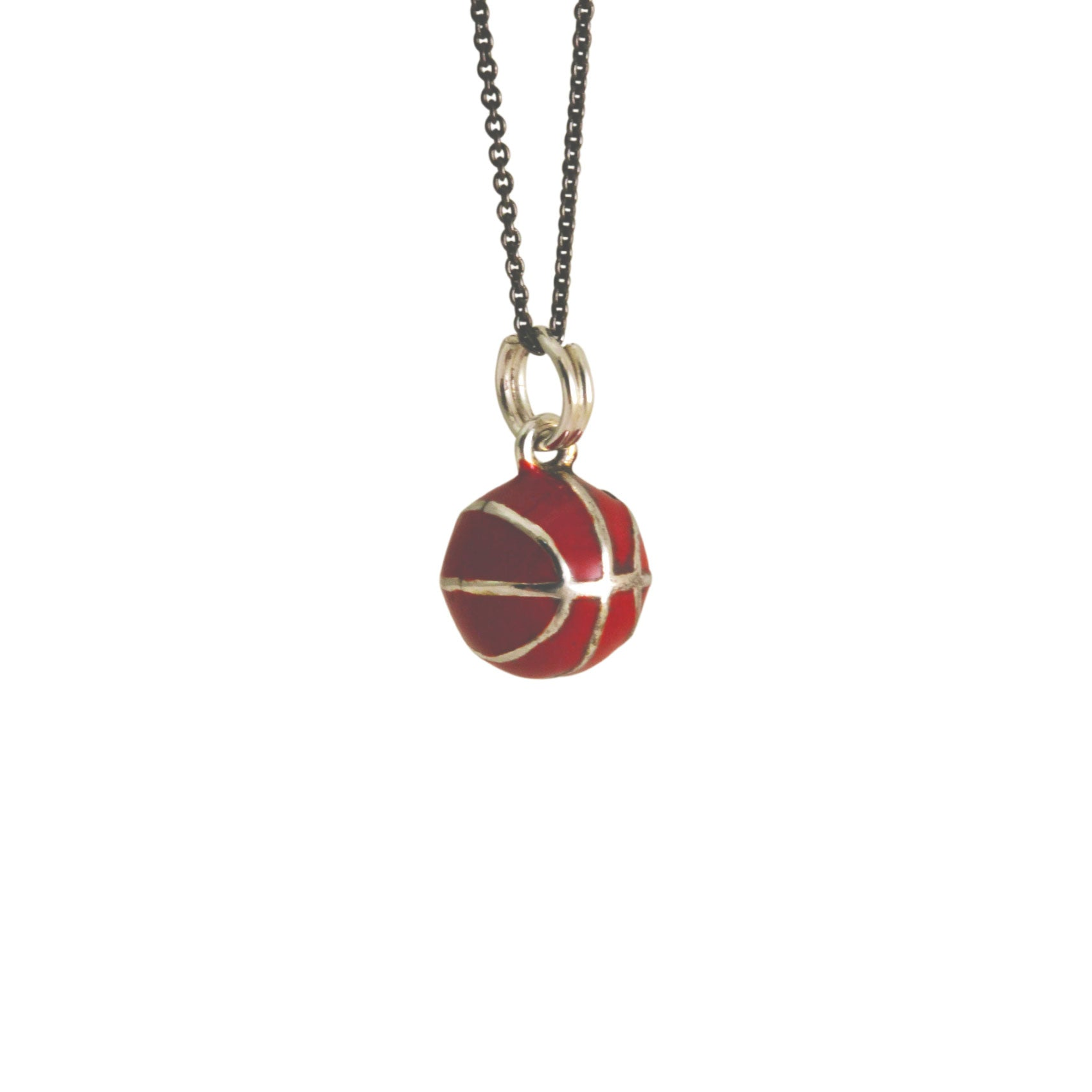 "Sterling Silver ""BasketBall"" Enamel Pendant Necklace"