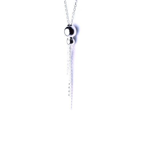 Sterling SIlver Bead Tassel Chain Necklace