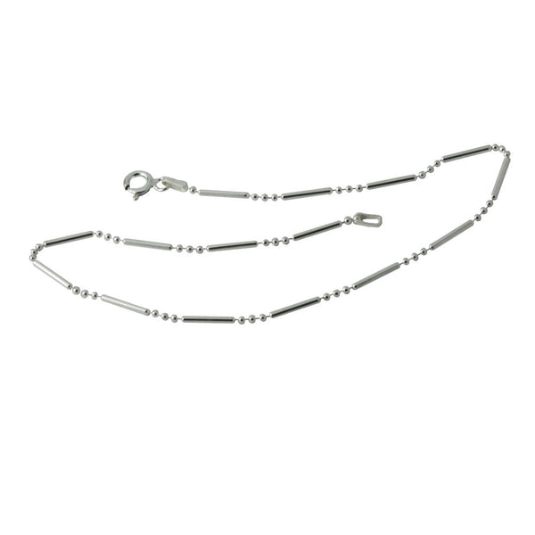 """Dotted Line"" Bar Beaded Sterling Silver Anklet Bracelet"
