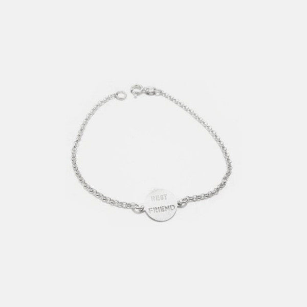 "Sterling Silver ""Best Friend"" Charm Bracelet 7 inch"