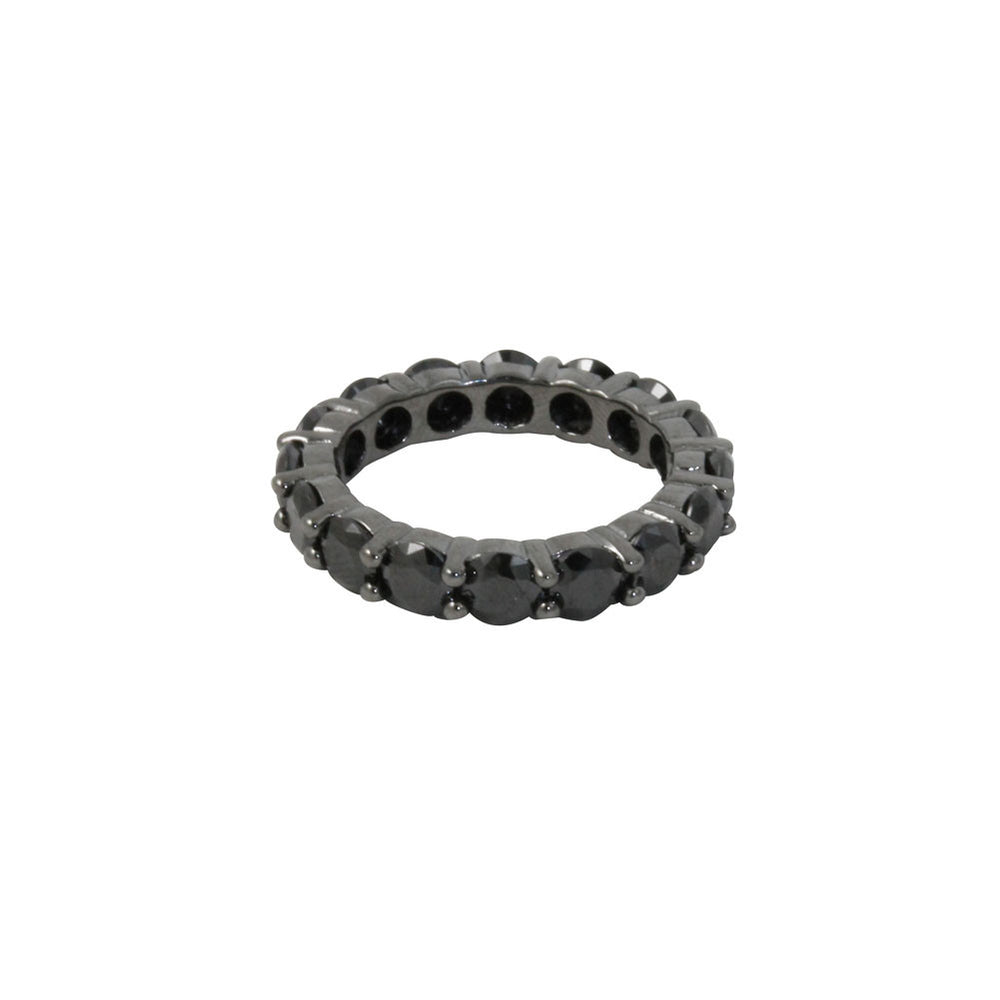 """Monarch"" Blackened Silver Pave CZ Stone Band Ring"