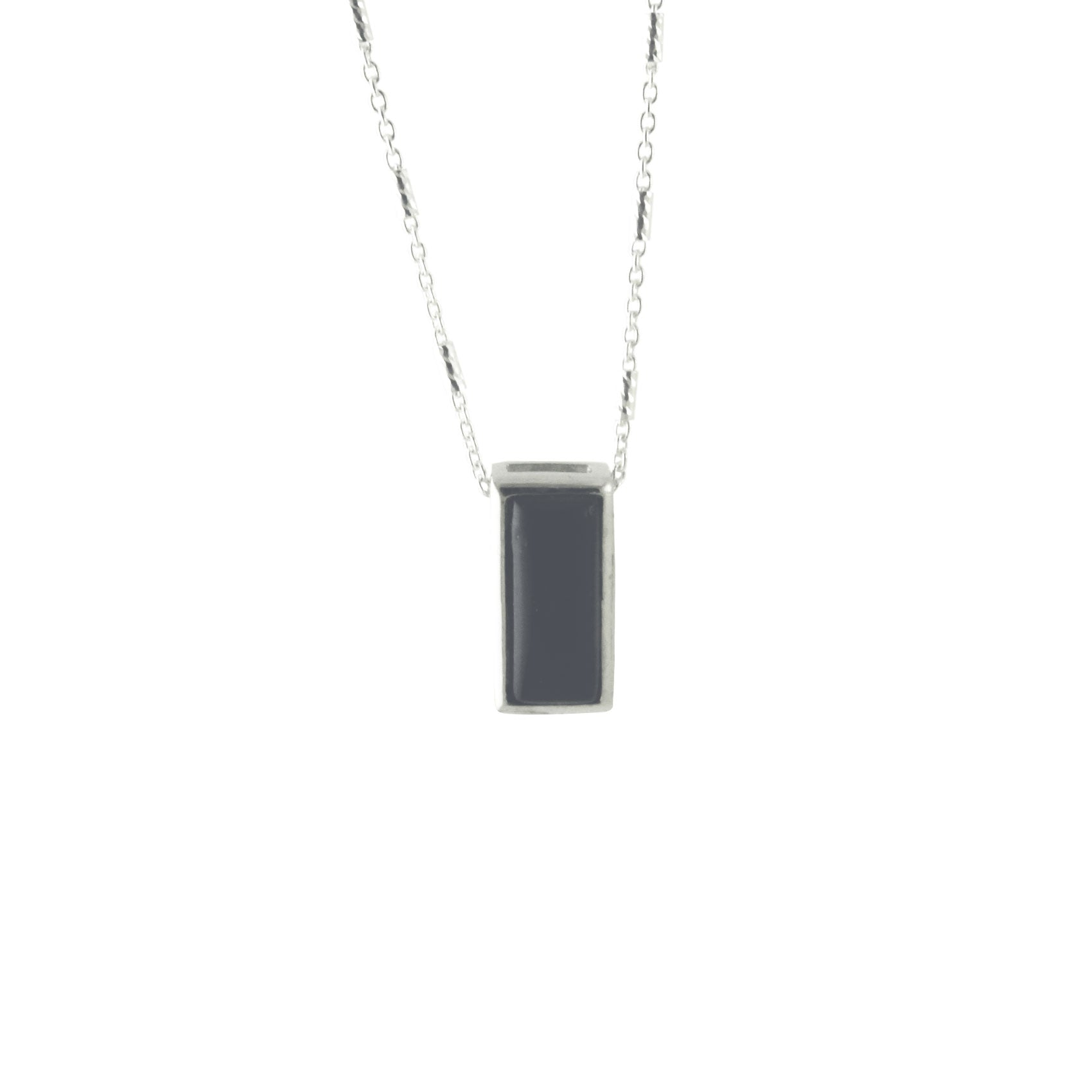 Sterling Silver Black Enamel Pendant Necklace