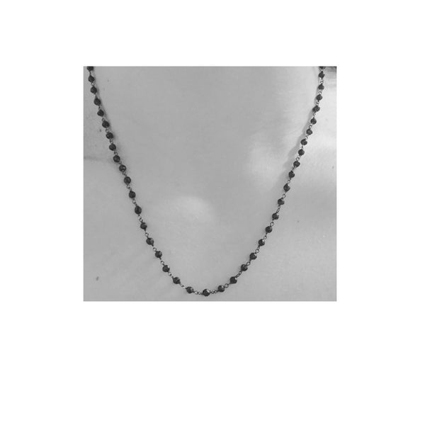 Blackened Silver & Black Onyx Beaded Necklace 18 inch