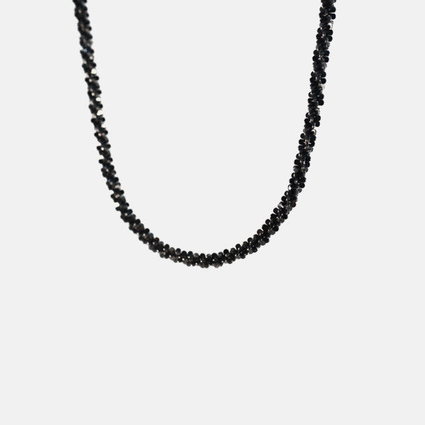 """Black Sequins"" Blackened Silver Chain Necklace 16 inch - 24 inch"