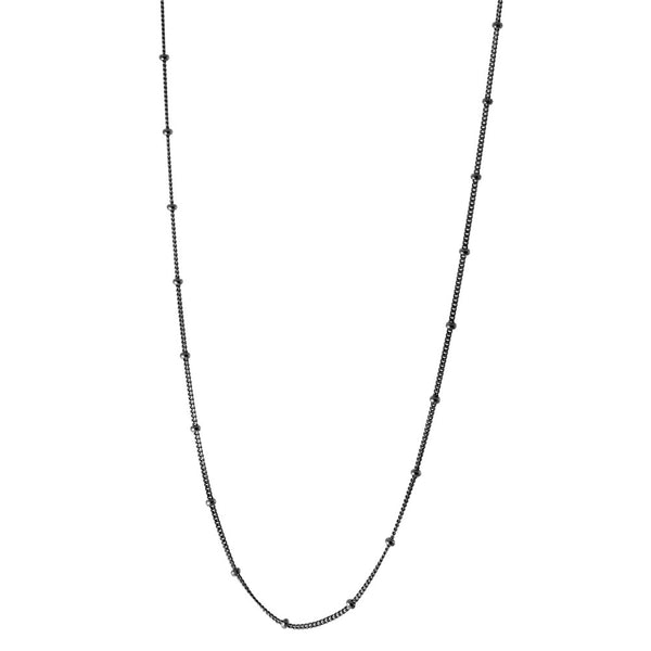 Blackened Silver Curb Beaded Chain Necklace 16 inch + 2 inch extender