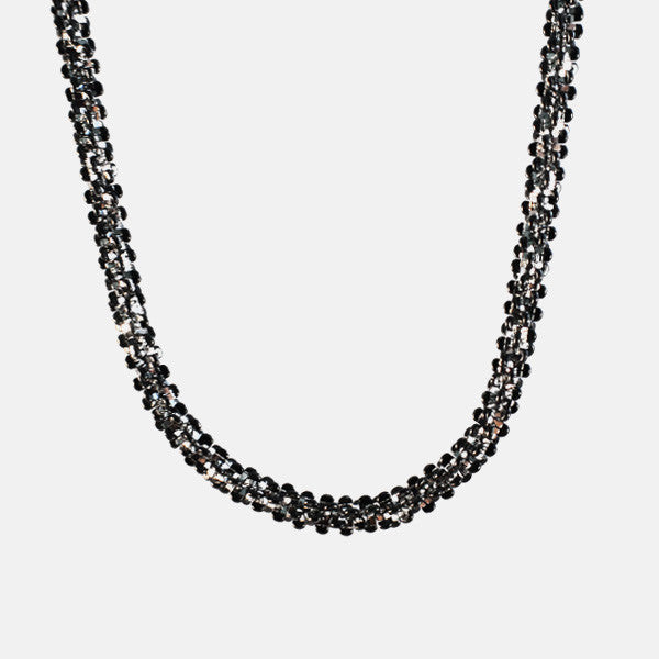 """Glitter Sequins"" Two Tone Blackened Silver Chain Necklace"