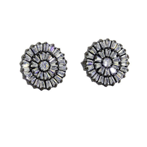 Blackened Silver Deco Baguette CZ Cluster Stud Earrings