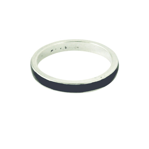 Sterling Silver Black Enamel Ring