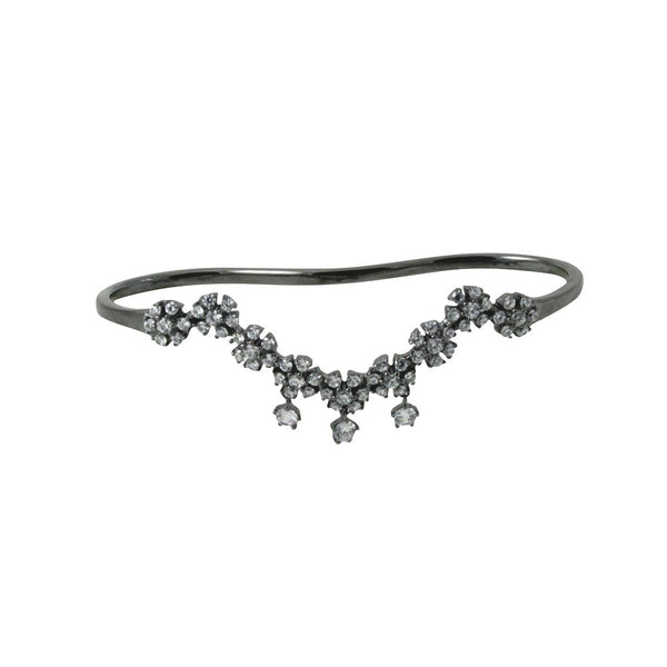 """Flower Deco"" Blackened Silver & CZ Palm Cuff Bangle Handlet"