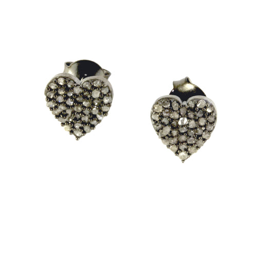Blackened Diamond Heart Earrings
