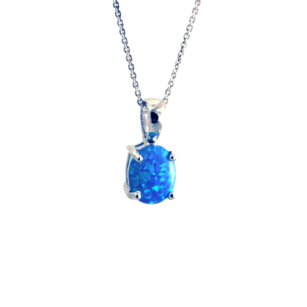 Sterling Silver Black Opal Solitaire Pendant Necklace
