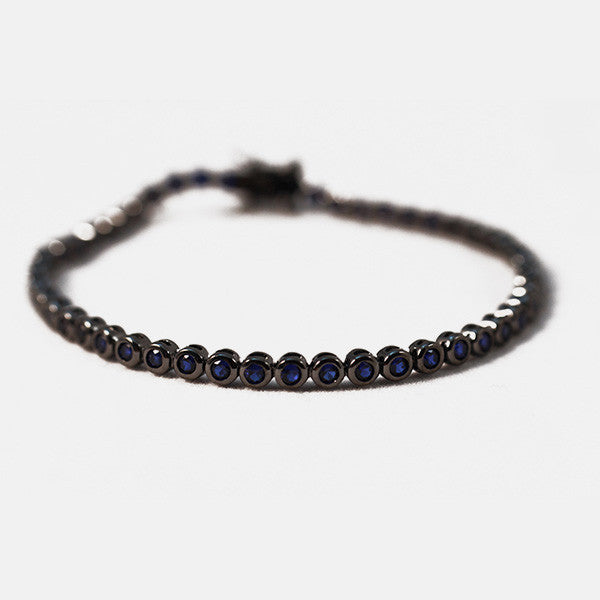 Blackened Silver Midnight Blue CZ Tennis Bracelet