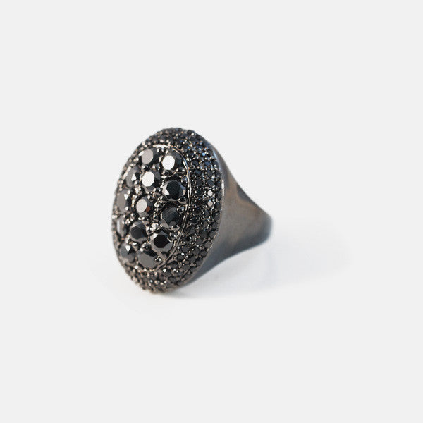 Dark Knight Black Cocktail Ring with Black Stones