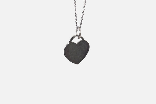 Sterling Silver Black Heart Pendant Necklace