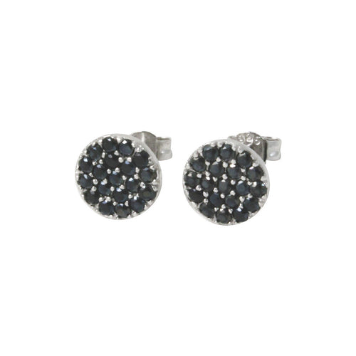 Sterling Round Disc Black Stone Cluster Stud Earrings