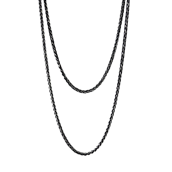 """Whitney"" Two-Tone Blackened Sterling Silver Chain Necklace 30 inch"