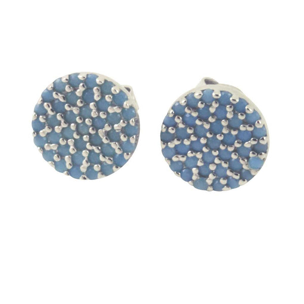 Turkoise Blue Pave Stud Earrings