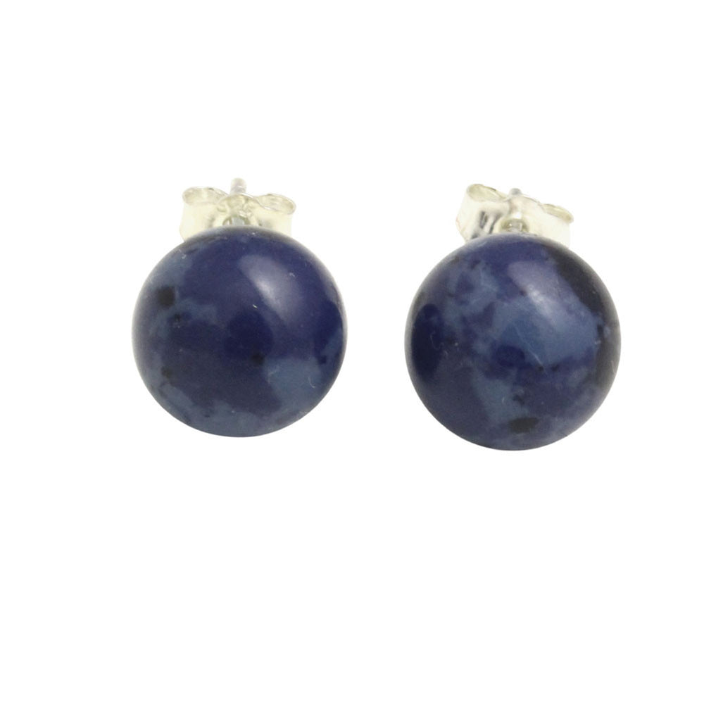 """Blue Marble"" Sodalite Stone Stud Earrings"