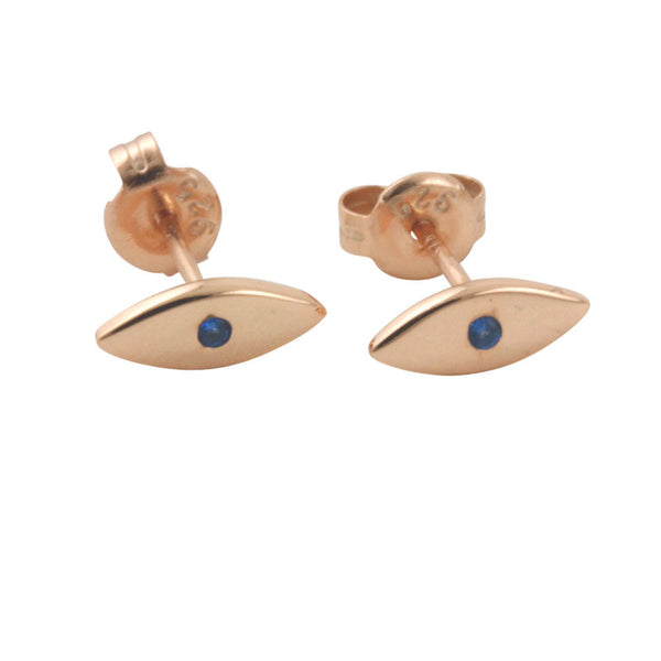 Rosy Mini Blue Eye Stud Earrings
