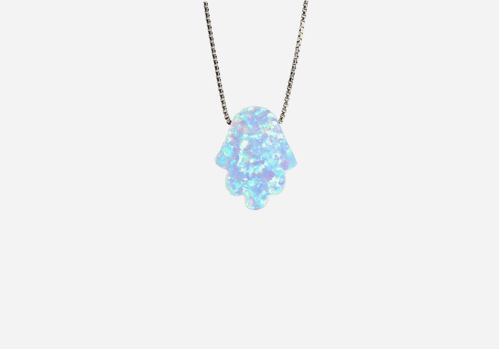 Sterling Silver Blue Opal Mini Hamsa Necklace 17 inch