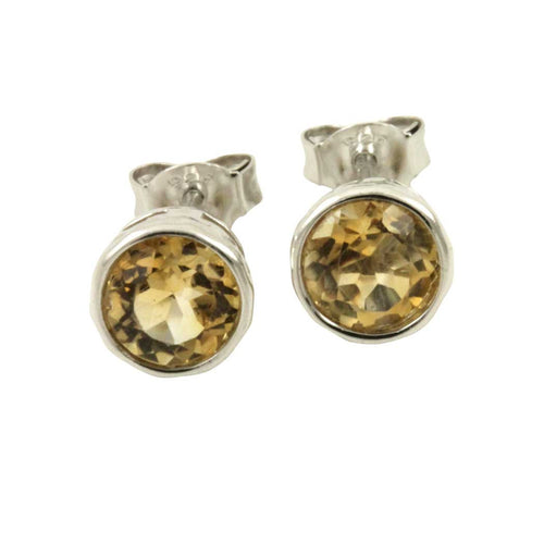 Sterling Silver Citrine Earrings Studs