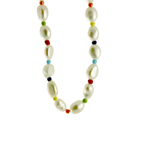 InterMix Colorful White Pearl Choker Necklace