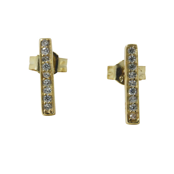 """Sparkle Bar"" Gold-Dipped Mini CZ Bar Earrings"