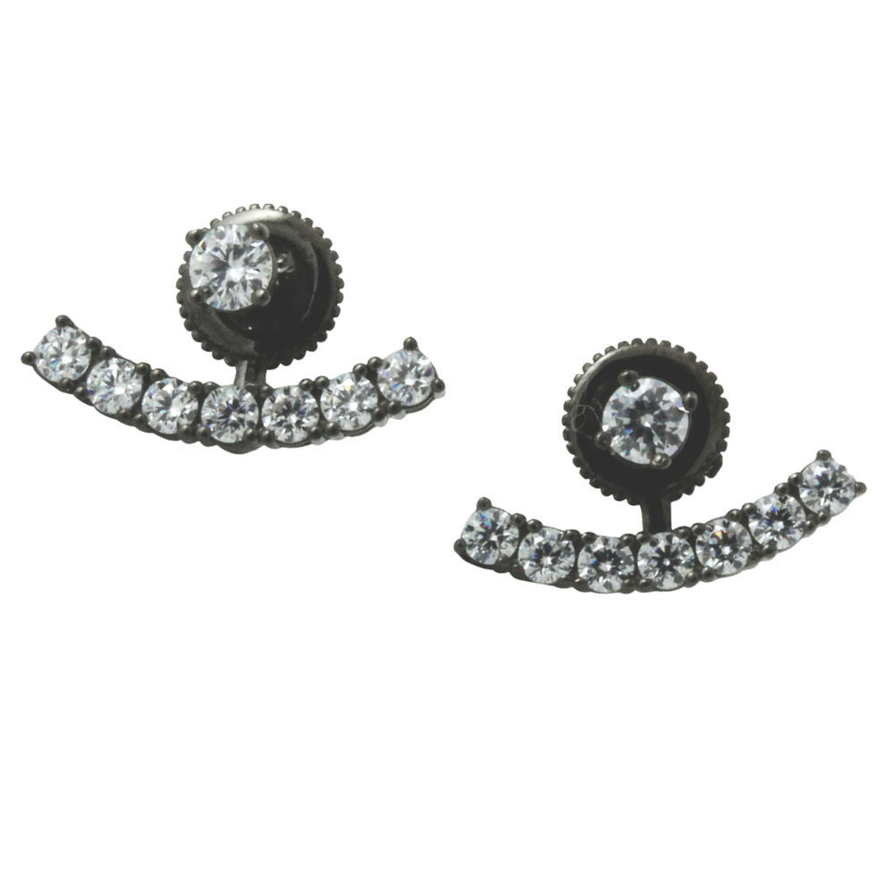 Blackened Silver Round CZ Ear Jacket Stud Earrings