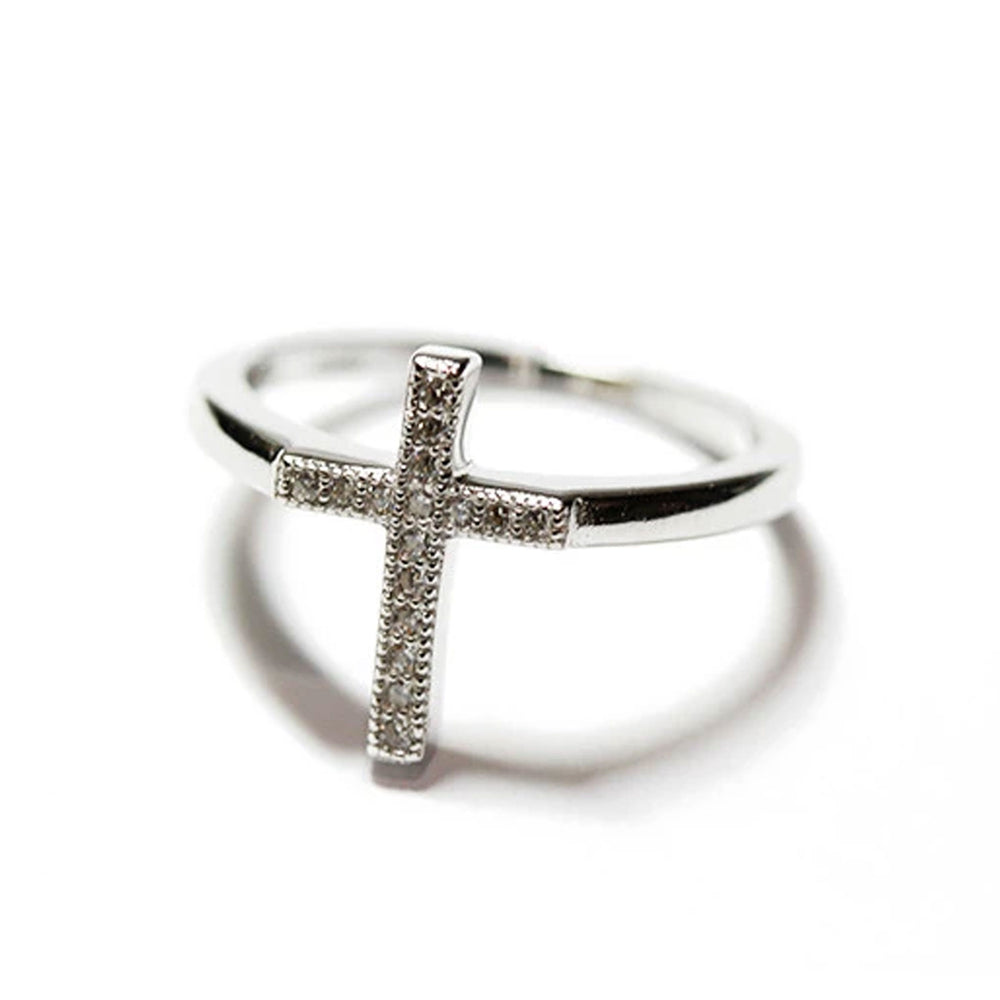 Sterling Silver CZ Christian Cross Ring
