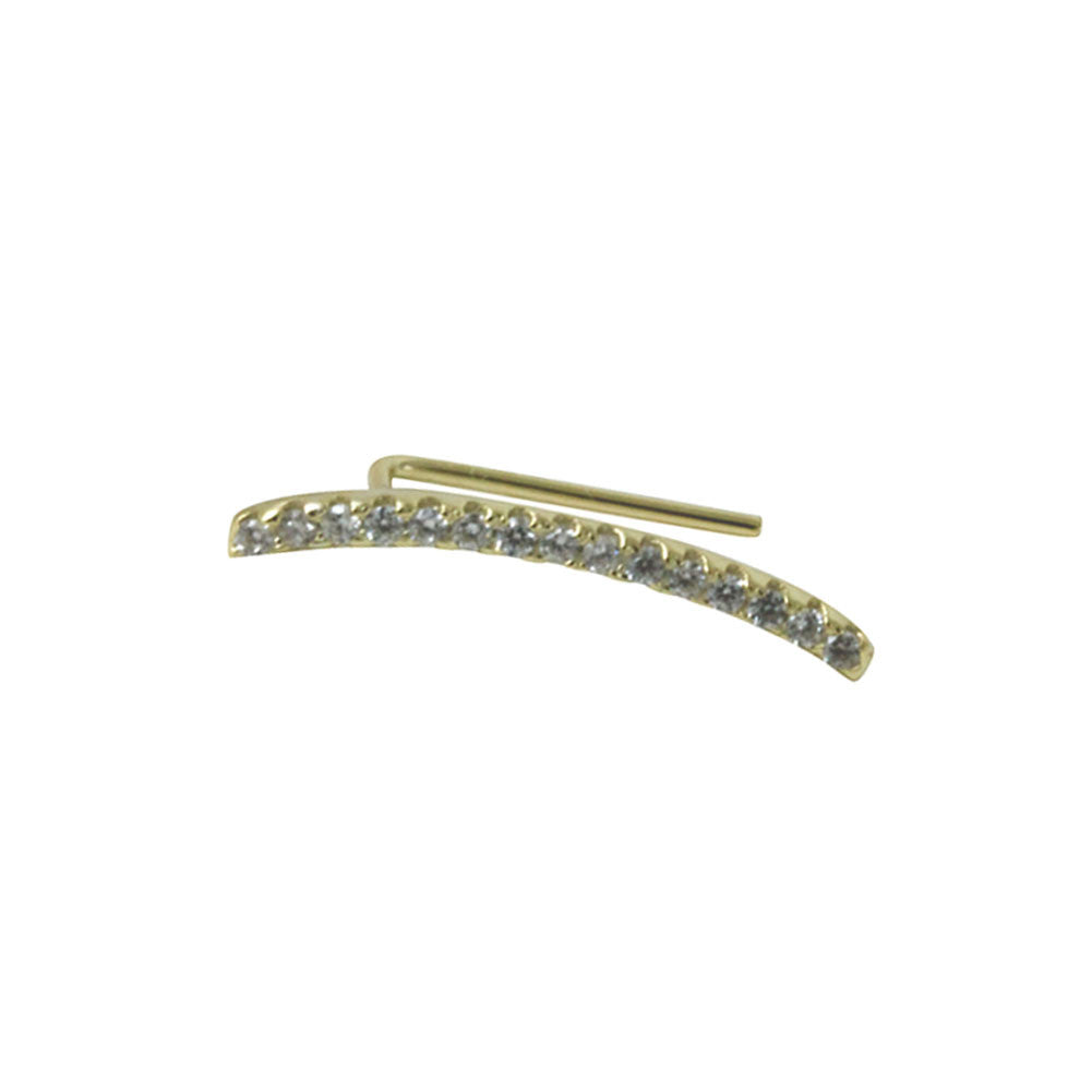 """Sparkle Bar"" Gold-Dipped CZ Ear Cuff Earring Climber"