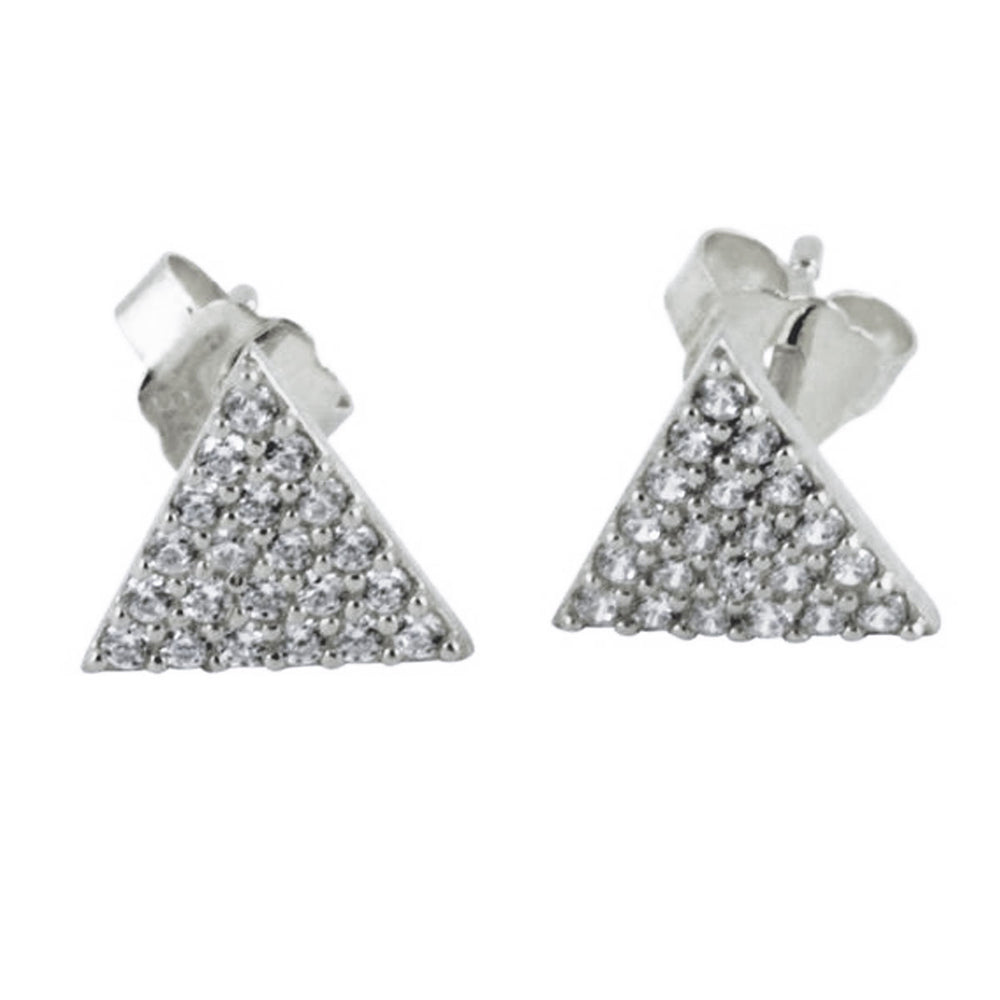 Gold-DIpped Triangle Pave CZ Cluster Stud Earrings