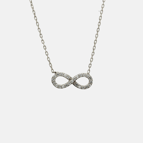 """Infinite Sparkle"" Sterling Infinity Necklace CZ Stones"