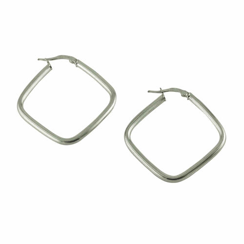 Sterling Diamond-Shape Square Hoop Earrings